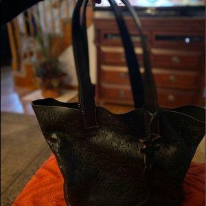 Black leather Frye tote bag.